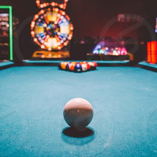 white billiard cue ball in macro photography photo