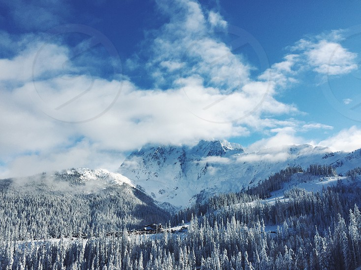Mountain snow clouds trees winter blue sky surreal peaceful nature skiing photo