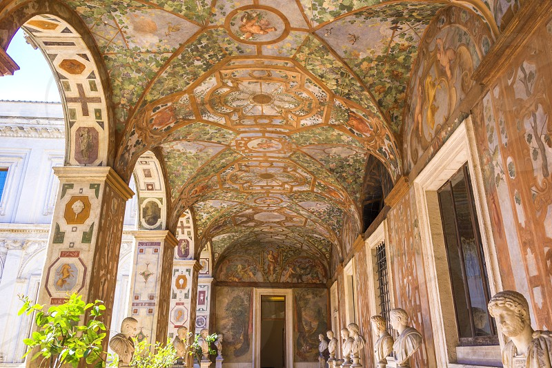 Main floor decorated loggia. The Palazzo Altemps is a palace in Rome in the district of Ponte in the Piazza di Sant'Apollinare 44 north of Piazza Navona. photo