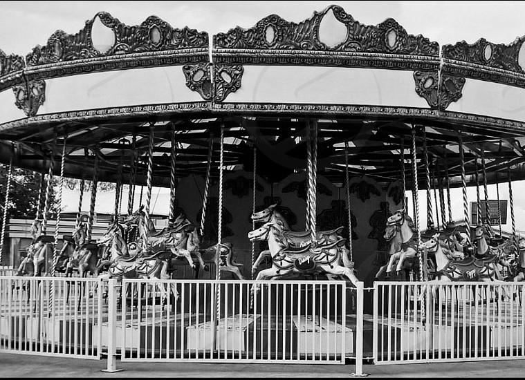 Flamingo Land - Carousel (Black and White) photo