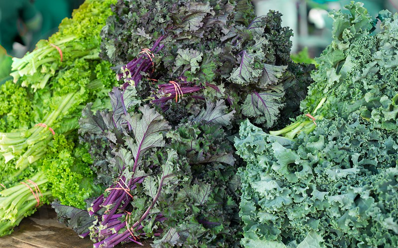 Variety of Kale at a local outdoor market photo