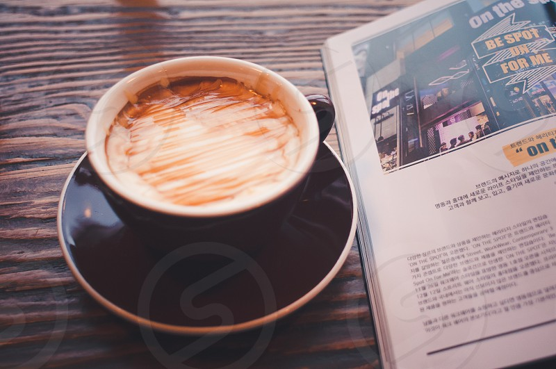 coffee latte caramel latte seoul south korea photo