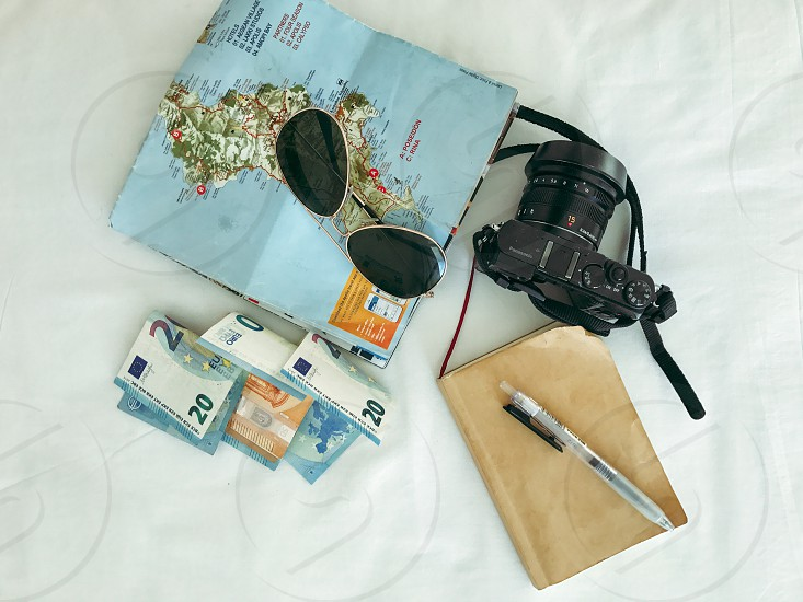 Greece map euro travel flatlay camera  photo