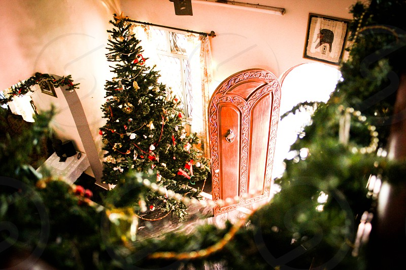 running downstairs Christmas morning santas been door open bright star big tree photo