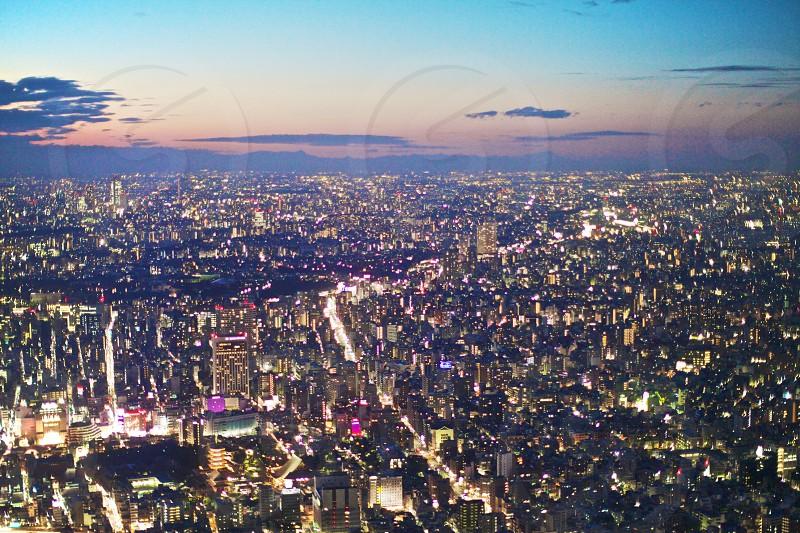 Tokyo Skyscrapers Building Cityscape Skyline Horizon Sunset Blue Orange Lights Asia photo