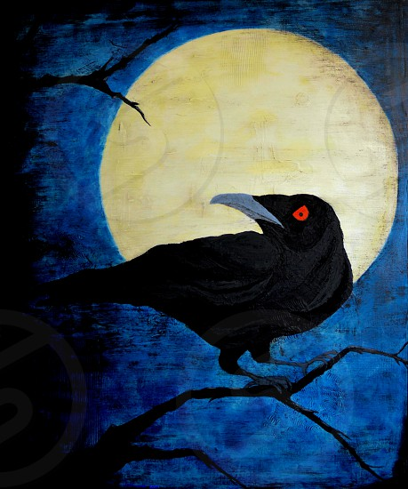 """My photo of my painting """"The Witness"""" - a raven with a red piercing eye photo"""