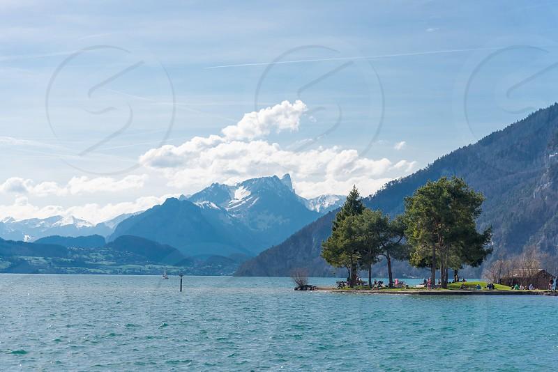 Landscape and outdoor activities of Lake Thun in Interlaken Switzerland  photo