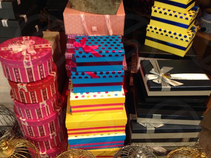 Boxes Present motifs polkadot colorful bright ribbon bow  photo