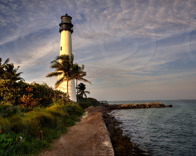 Cape Florida Light Key Biscayne FL. Lighthouse. photo