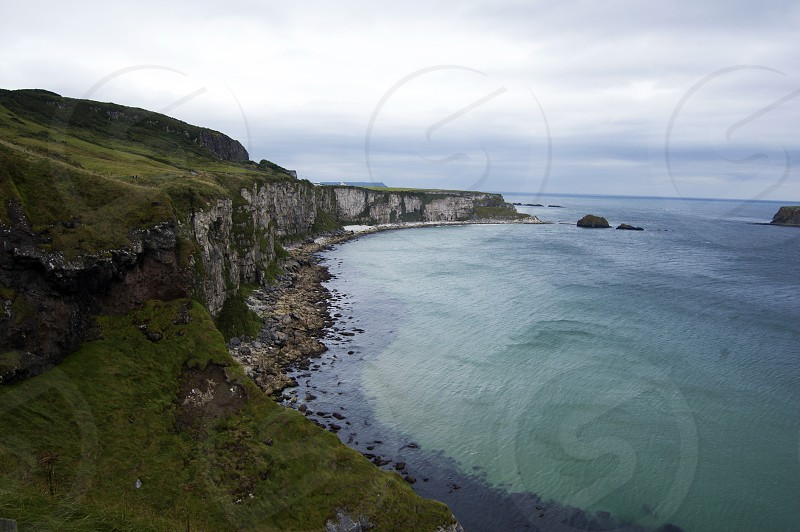 Antrim Coast Road Northern Ireland Irish Sea Autumn Bay Rocks Cliffs photo