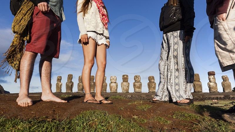 ahu tongariki. easter island. chile photo