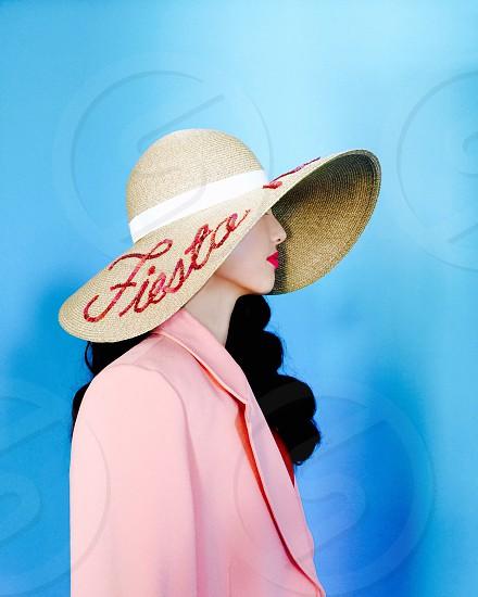 brown fiesta printed straw hat photo