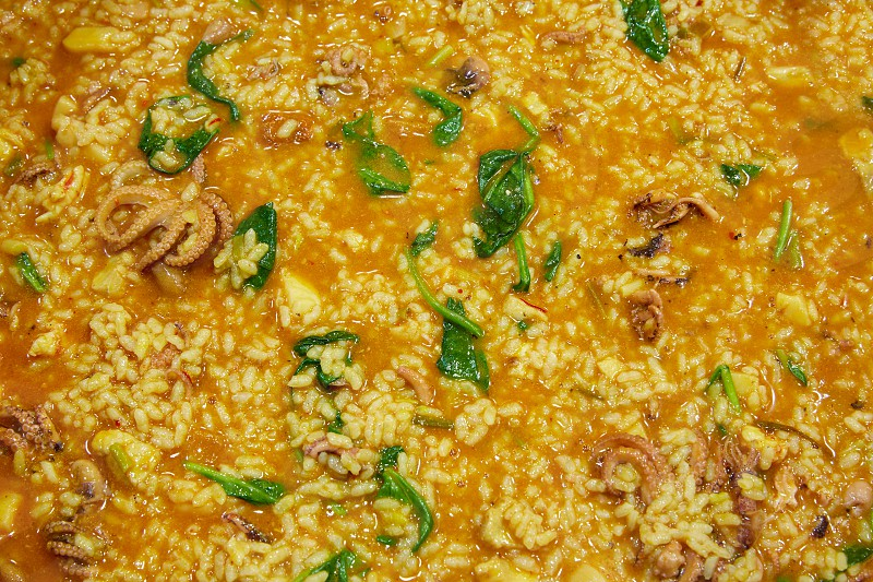 Little octopus rice with spinach and squash recipe photo
