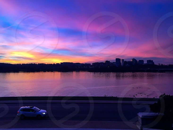 Washington DC Potomac river car ride journey trip travel night sunset Sky colors cityscape water photo