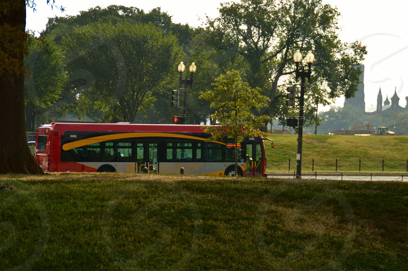 gray red and yellow bus near black street lights and trees photo