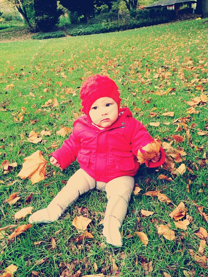 Autumn fun baby leaves girl daughter photo