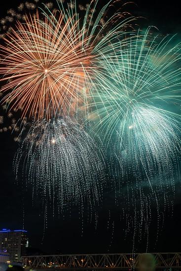 fireworks on the Ohio river in Cincinnati Ohio photo