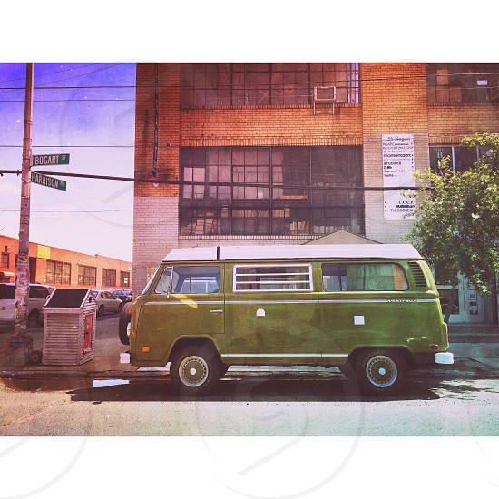 green and white Volkswagen Kombi photo