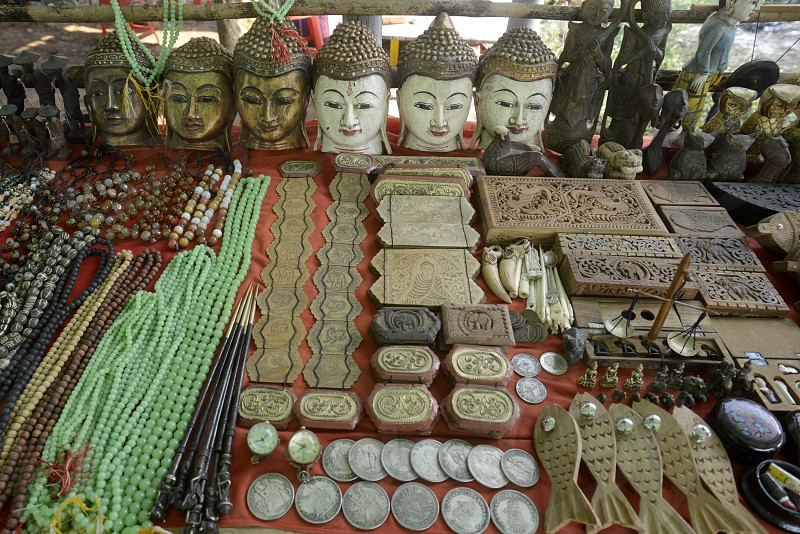 buddha faces at the Market in the village of Ywama at the Inle Lake in the Shan State in the east of Myanmar in Southeastasia. photo