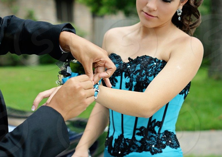 High school couple getting ready for their Senior Prom 2012. photo