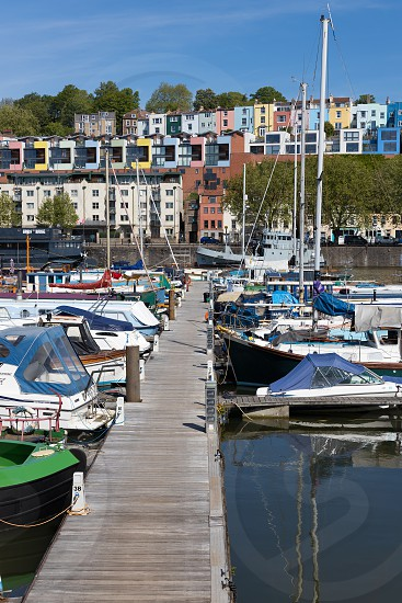 BRISTOL UK - MAY 14 : View of boats and colourful apartments along the River Avon in Bristol on May 14 2019 photo
