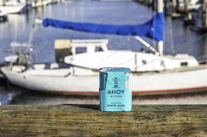 Ahoy wine with sailboat photo