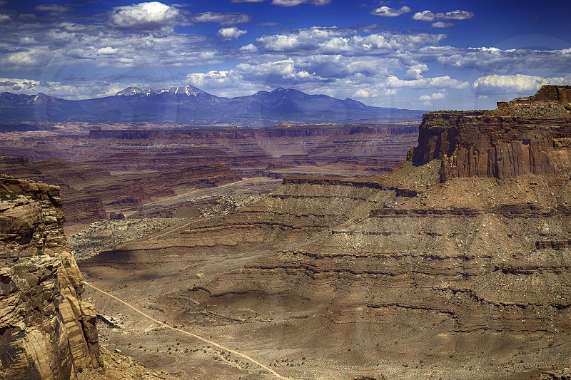 The vista of Canyonlands National Park from up above in Utah.  photo