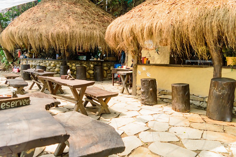 Exterior of a well decorated Eco Friendly Restaurant. Photograph near Mediterranean Sea beach. photo