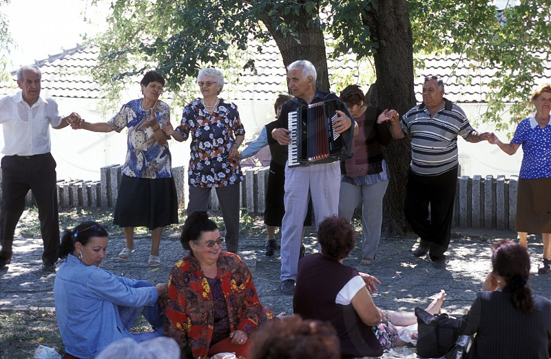 Older People make a party in the town of Balcik in Bulgaria in east Europe. photo