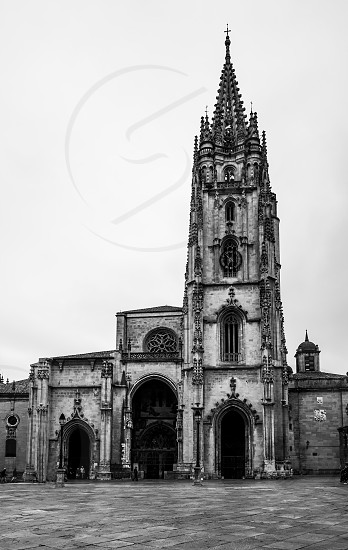 The Cathedral of San Salvador in Oviedo Spain has several architectural styles including Romanesque Gothic and Renaissance groundbreaking was in 781 AD with additions in 1388 and 1528. photo