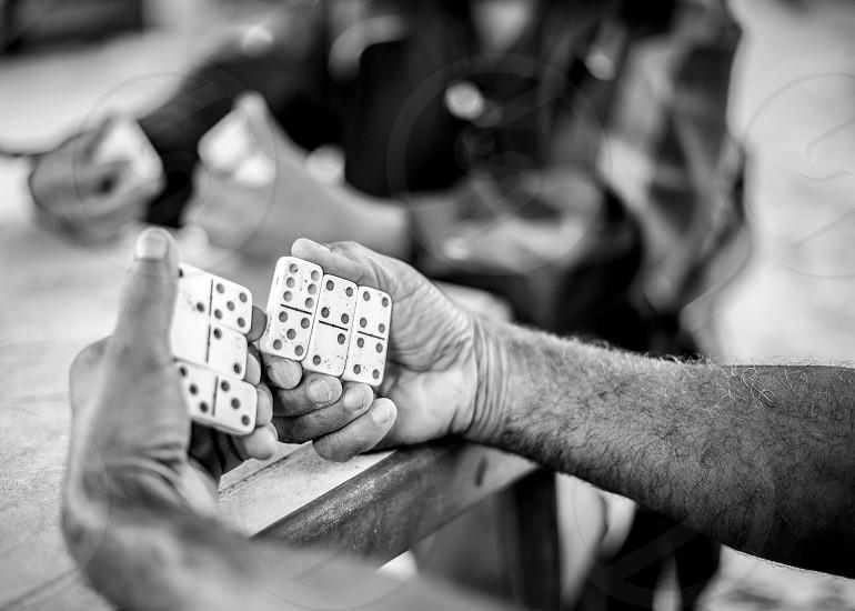 Domino game old game seniors playing  photo