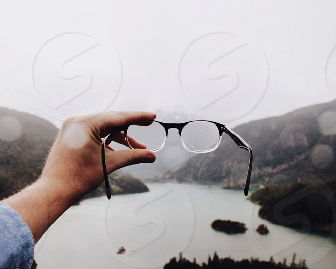 black and clear frame eyeglasses photo