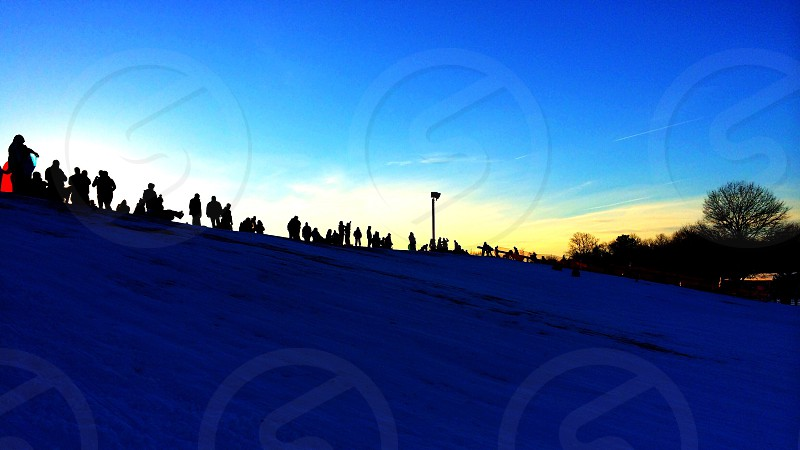 Winter New Jersey Snow Tubing Hill People Sunset Dusk photo
