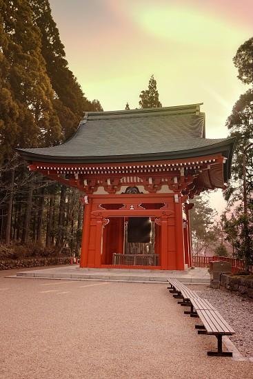 "Happiness bell ""開運の鐘"" (kaiun no kane) in the morning light of Enryaku Temple on Mount Hiei near Kyoto Japan. photo"