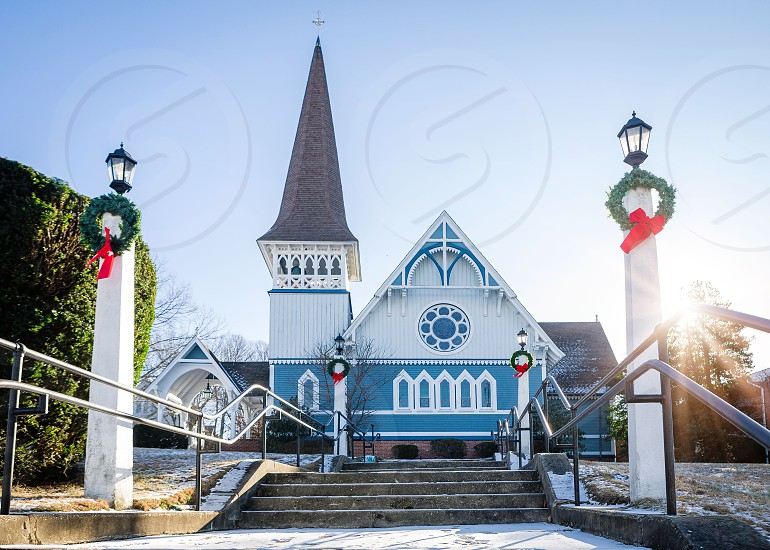 Church at Christmas time photo