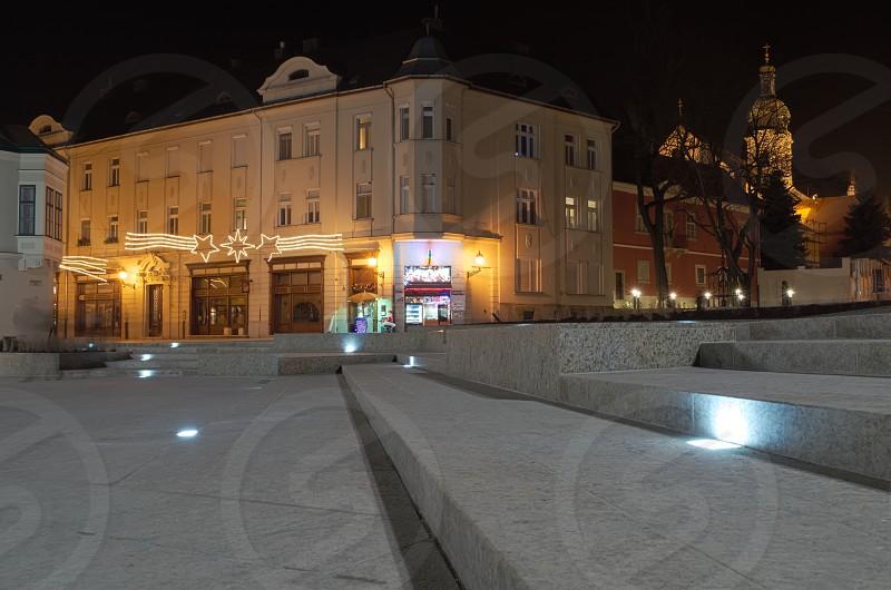 Illuminated Stairs Closeup on the Dunakapu Square in the City Gyor photo