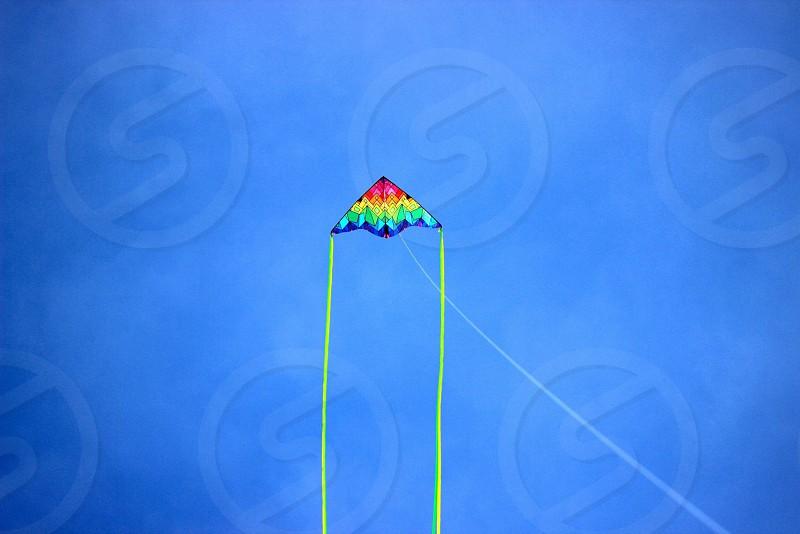 Springtime; fun; flying a kite photo