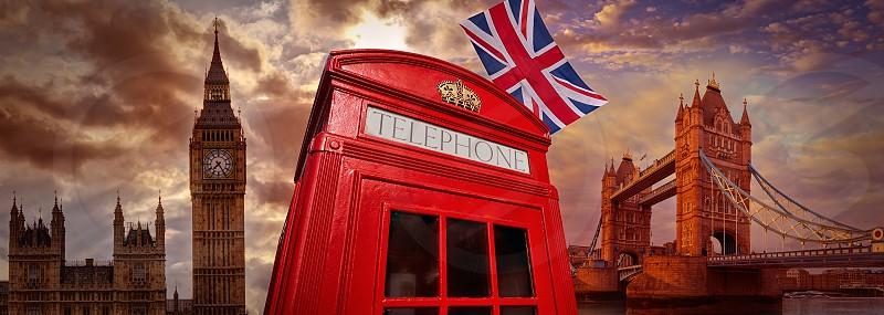 London photomount with telephone box and Icon landmarks photo