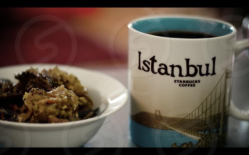 Breakfast with an Istanbul Starbucks mug. photo