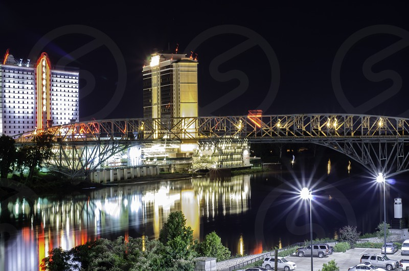 Night view of a Shreveport Bossier City Bridge  photo