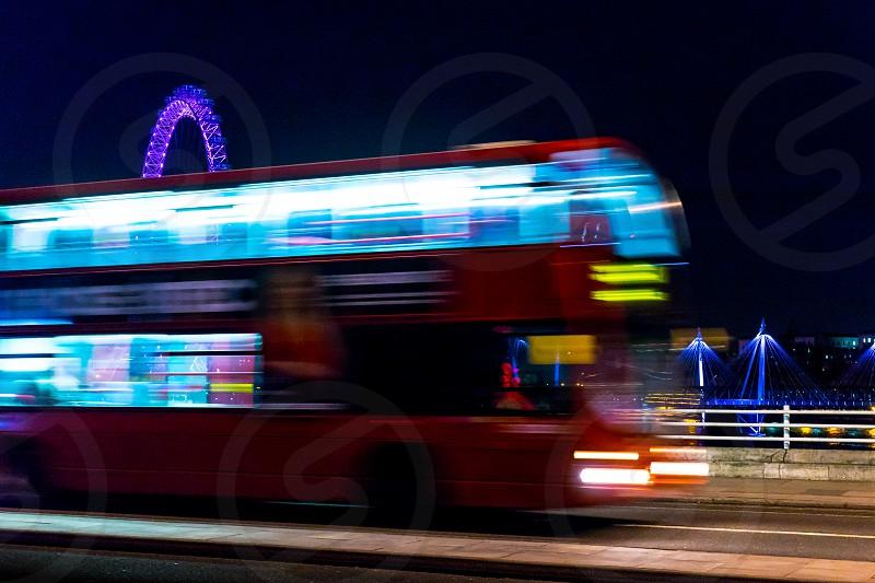 London: red bus & london eye photo