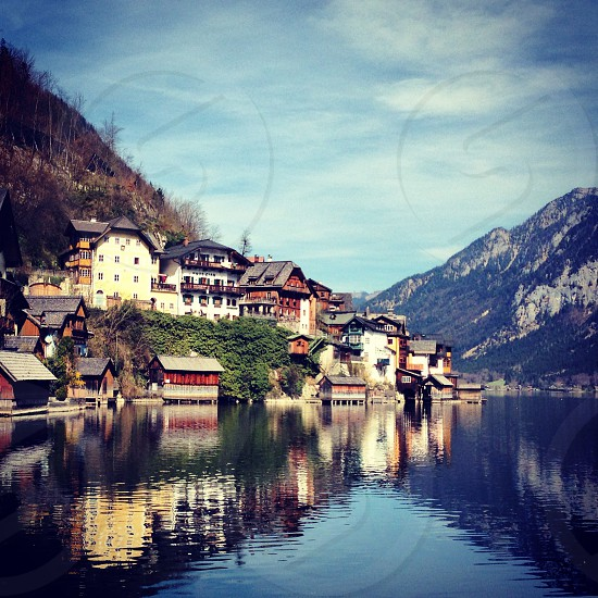 village Hallstatt Austria Vienna lake mountains photo