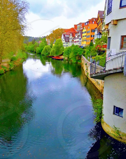 spring in Germany. Historic old city Tubingen. View from the bridge over the river. photo