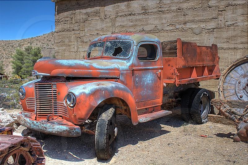 truck car classic vintage junk yard rust orange hdr photo