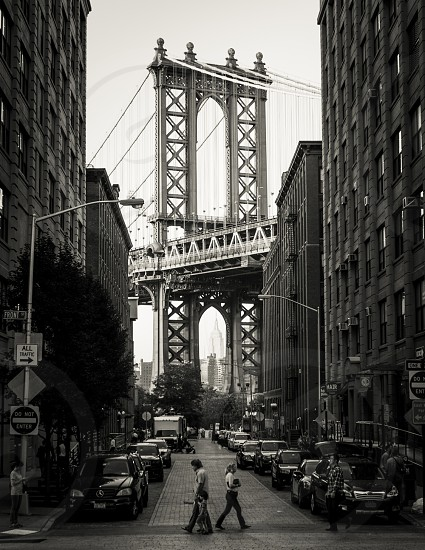 Manhattan Bridge. Brooklyn DUMBO NYC Empire State Building. B&W photo