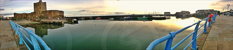 iPhone panoramic at Carrickfergus Castle and harbour N.Ireland photo