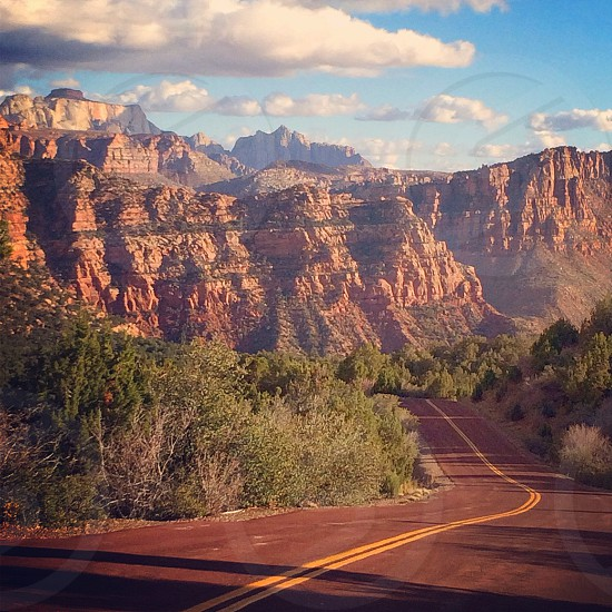 rock formation and road photography photo