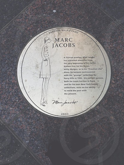 Marc Jacobs' plague on Fashion Walk of Fame. photo