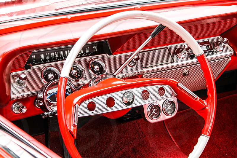 Classic Car red dashboard Chevy Impala  photo