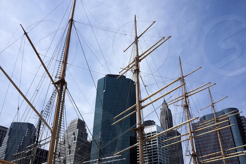 Sailboat and city skyline. Manhattan.  photo